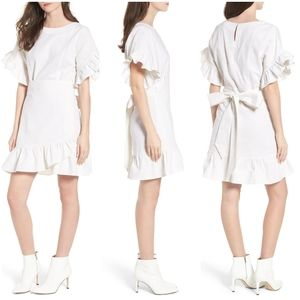 Socialite Ruffle Wrap Linen Blend Dress sz Large